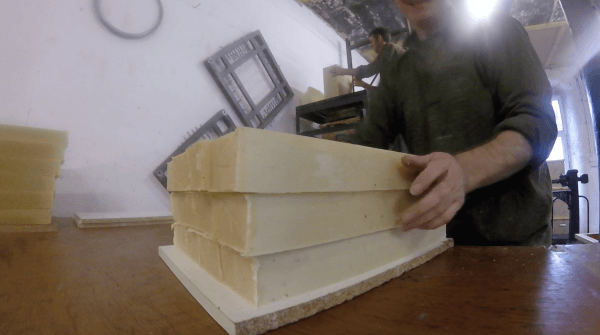 Soap blocks being cut