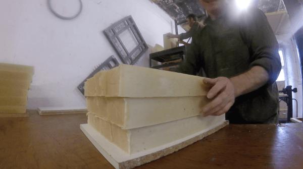 Soap blocks being cut